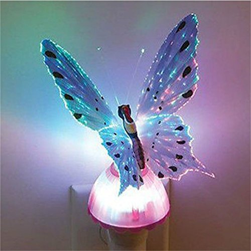 Fiber Optic Butterfly Colorful Changeable LED Night Light Lamp for...