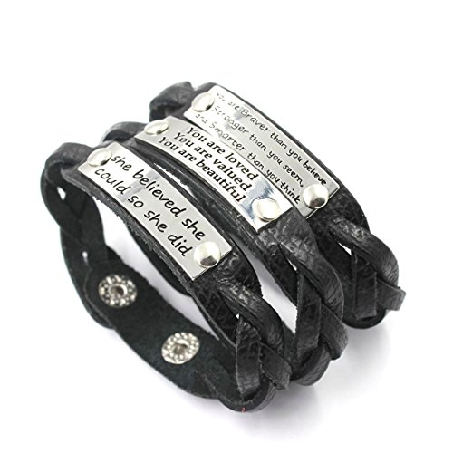 YOYONY Men's/Women's Inspirational Message Braided Leather...