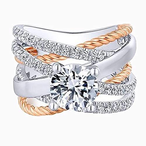 TbpersicwT Fashion Women Cross Dual Color Rhinestone Ring Engagement...