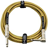GLS Audio 10 Foot Guitar Instrument Cable - Right Angle 1/4 Inch TS to...