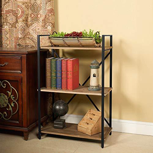 Three Shelf Bookcase Bookshelf 3 Tier Storage Rack Shelf for Office,...