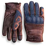 Denim & Leather Motorcycle Gloves (Brown) with Mobile Phone...