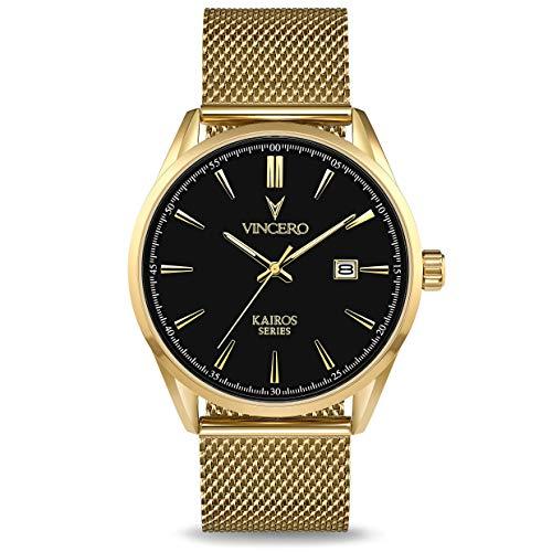 Vincero Men's Kairos Luxury Watch 42mm Quartz Movement Black/Gold