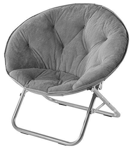 Urban Shop Faux Fur Saucer Chair, Grey
