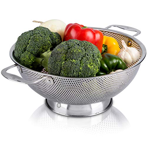 LiveFresh Stainless Steel Micro-Perforated 5-Quart Colander -...