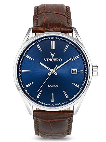 Vincero Luxury Men's Kairos Wrist Watch — Blue dial with Brown...