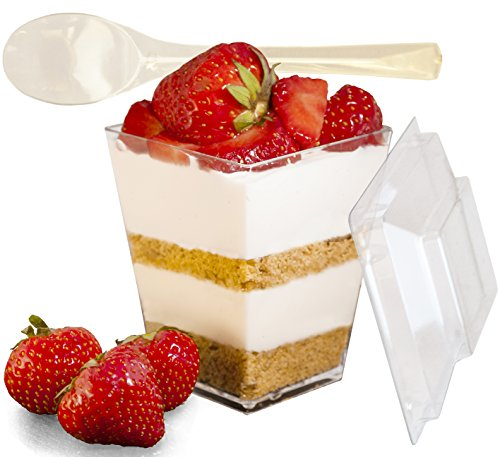 Mr.Foodie 30 Pack Dessert cups with lids and spoons - 5 oz Mini Clear...