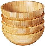 Lipper International Bamboo Wood Salad Bowls, Small, 7' Diameter x...