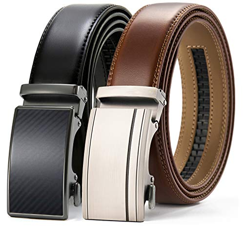 Chaoren Leather Ratchet Belt 2 Pack Dress with Click Sliding Buckle 1...