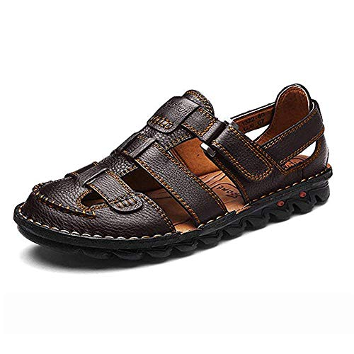 ZHShiny Mens Summer Casual Closed Toe Leather Sandals Outdoor...