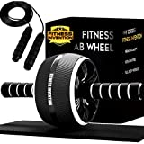 Fitness Invention Ab Roller - Ab Wheel With Jump Rope, Knee Mat - Ab...