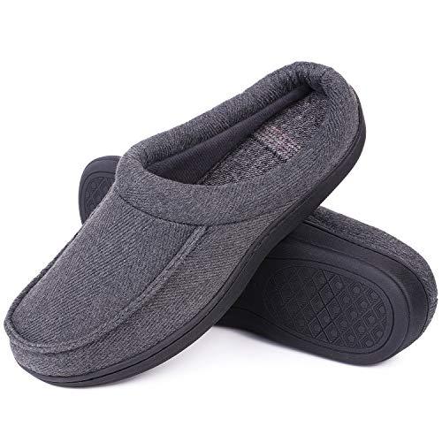 LongBay Men's Wool-Like Memory Foam Slippers Comfy Cozy Clogs House...