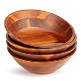 AIDEA Wood Salad /Soup/Cereal /snack Bowls Set of 4 7Inch