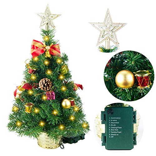"Joiedomi 23"" Deluxe Prelit Tabletop Christmas Tree with Tree Topper..."