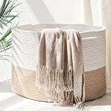 HOMYAM XXX Large Cotton Rope Basket 22x14 inches, Natural Cotton Rope...