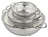 HÖLM 3-Piece Stainless Steel Mesh Micro-Perforated Strainer Colander...