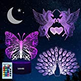 CGN 3 pcs Night Light 3D lamp 7 Colors Changing Nightlight with Smart...