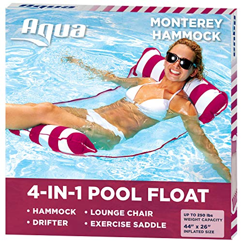 Aqua 4-in-1 Monterey Hammock Inflatable Pool Float, Multi-Purpose Pool...