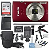 Canon PowerShot ELPH 180 Digital Camera (Red) + 32GB SDHC Memory Card...