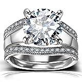 Platinum Plated Bridal Set - Round Cut Cubic Zirconia Rings Women...