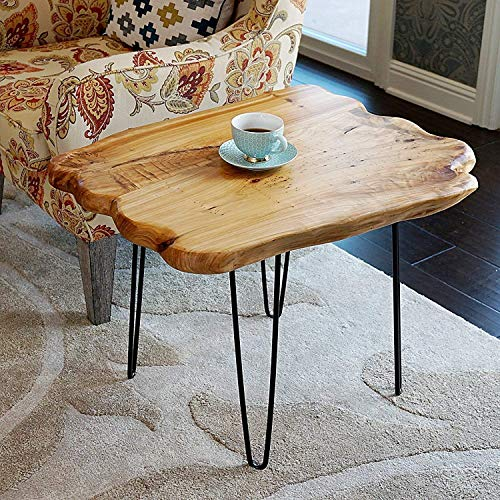 WELLAND Natural Edge Coffee Table Small, Hairpin Coffee Table, Natural...