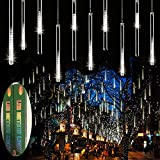 Zezuxy Falling Rain Lights White, UL Listed Meteor Shower Lights with...