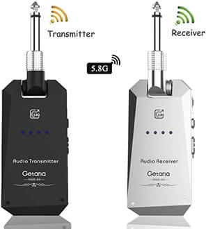 Getaria Wireless Guitar Transmitter Receiver set 5.8GH Wireless Guitar System 4 Channels for Electric Guitar Bass