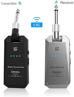 Getaria 5.8GHz Wireless Guitar System Rechargeable Guitar System Wireless Digital Transmitter Receiver Set for Electric Guitar Bass