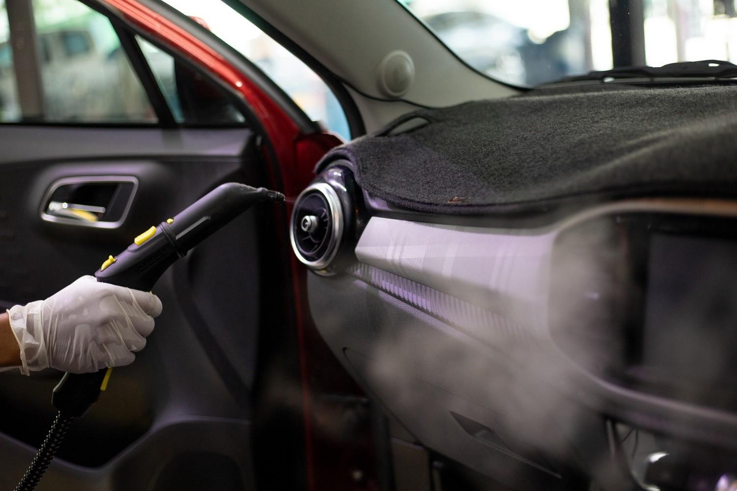 car interior steam cleaning